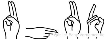 Uhud im Fingeralphabet der Deutschen Gebärdensprache