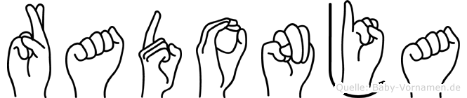 Radonja im Fingeralphabet der Deutschen Gebärdensprache