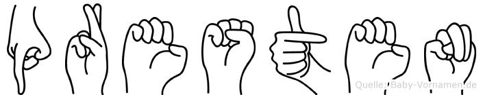 Presten im Fingeralphabet der Deutschen Gebärdensprache