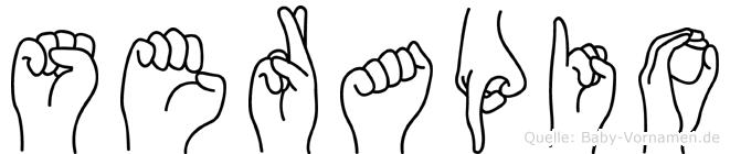 Serapio im Fingeralphabet der Deutschen Gebärdensprache