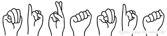 Mirania im Fingeralphabet der Deutschen Gebärdensprache