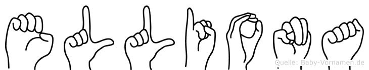 Elliona im Fingeralphabet der Deutschen Gebärdensprache