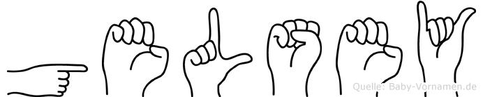 Gelsey im Fingeralphabet der Deutschen Gebärdensprache