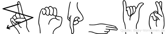 Zephyr im Fingeralphabet der Deutschen Gebärdensprache