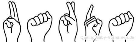 Uarda im Fingeralphabet der Deutschen Gebärdensprache