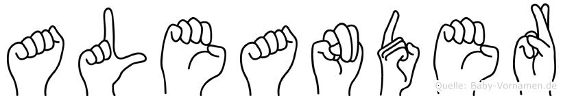 Aleander im Fingeralphabet der Deutschen Gebärdensprache