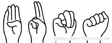 Buna im Fingeralphabet der Deutschen Gebärdensprache