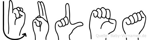Julea im Fingeralphabet der Deutschen Gebärdensprache