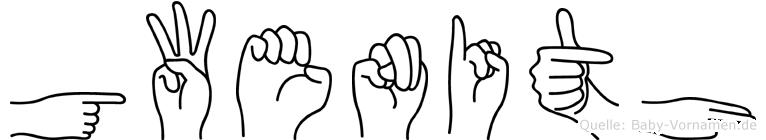 Gwenith im Fingeralphabet der Deutschen Gebärdensprache