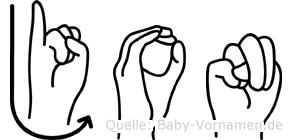 Jon in Fingersprache für Gehörlose