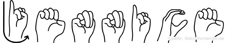Jennice im Fingeralphabet der Deutschen Gebärdensprache