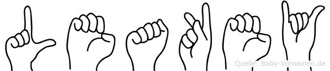 Leakey im Fingeralphabet der Deutschen Gebärdensprache