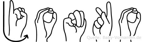 Jonko im Fingeralphabet der Deutschen Gebärdensprache