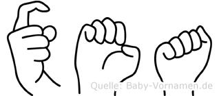 Xea im Fingeralphabet der Deutschen Gebärdensprache