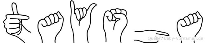 Taysha im Fingeralphabet der Deutschen Gebärdensprache