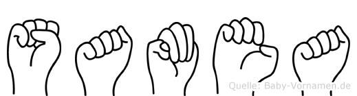 Samea im Fingeralphabet der Deutschen Gebärdensprache