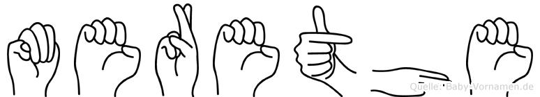 Merethe im Fingeralphabet der Deutschen Gebärdensprache