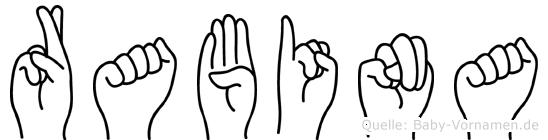 Rabina im Fingeralphabet der Deutschen Gebärdensprache