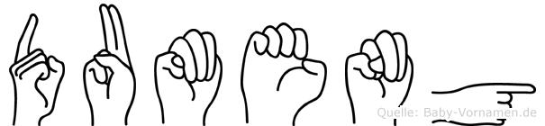 Dumeng im Fingeralphabet der Deutschen Gebärdensprache