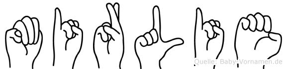 Mirlie im Fingeralphabet der Deutschen Gebärdensprache
