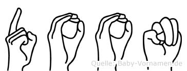 Doon im Fingeralphabet der Deutschen Gebärdensprache