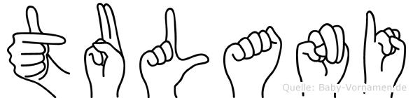 Tulani im Fingeralphabet der Deutschen Gebärdensprache