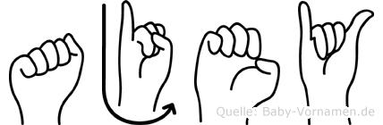 Ajey im Fingeralphabet der Deutschen Gebärdensprache