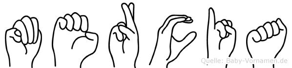 Mercia im Fingeralphabet der Deutschen Gebärdensprache