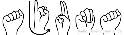 Ajuna im Fingeralphabet der Deutschen Gebärdensprache
