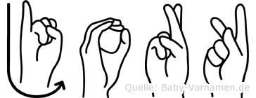 Jork in Fingersprache für Gehörlose