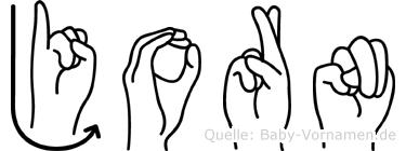 Jorn im Fingeralphabet der Deutschen Gebärdensprache