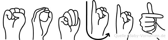 Somjit im Fingeralphabet der Deutschen Gebärdensprache