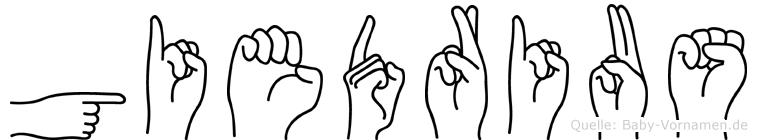 Giedrius im Fingeralphabet der Deutschen Gebärdensprache