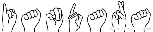 Iandara im Fingeralphabet der Deutschen Gebärdensprache