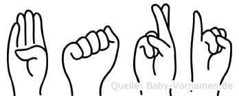 Bari im Fingeralphabet der Deutschen Gebärdensprache