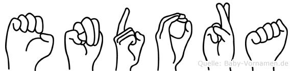 Endora im Fingeralphabet der Deutschen Gebärdensprache