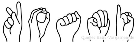 Koami im Fingeralphabet der Deutschen Gebärdensprache