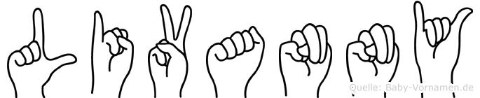 Livanny im Fingeralphabet der Deutschen Gebärdensprache