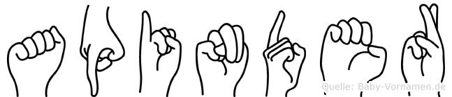 Apinder in Fingersprache für Gehörlose
