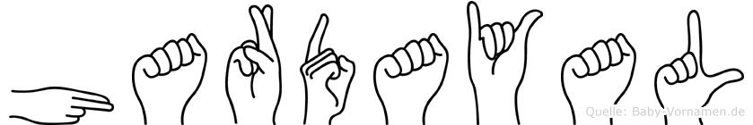 Hardayal im Fingeralphabet der Deutschen Gebärdensprache