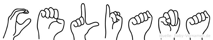 Celiana im Fingeralphabet der Deutschen Gebärdensprache