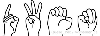 Dwen im Fingeralphabet der Deutschen Gebärdensprache