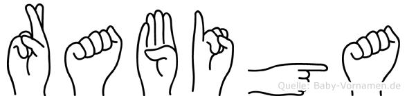 Rabiga im Fingeralphabet der Deutschen Gebärdensprache