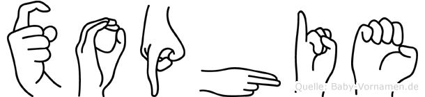 Xophie im Fingeralphabet der Deutschen Gebärdensprache