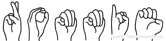 Rommie im Fingeralphabet der Deutschen Gebärdensprache