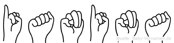 Ianina im Fingeralphabet der Deutschen Gebärdensprache