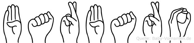 Barbaro im Fingeralphabet der Deutschen Gebärdensprache