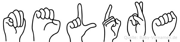 Meldra im Fingeralphabet der Deutschen Gebärdensprache