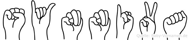 Synniva im Fingeralphabet der Deutschen Gebärdensprache