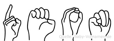 Deon im Fingeralphabet der Deutschen Gebärdensprache